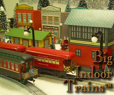 Big Indoor Trains� - A collection of 'how-to' articles for people using big trains indoors. This photo shows a Bachmann On30 observation car next to a Marx tinplate car in a setting that showcases our Tribute to Tinplate projects.  Click for a bigger photo.