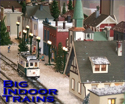 Big Indoor Trains - A collection of 'how-to' articles for people using big trains indoors. This photo is of a Christmas, 2006 display railroad in downtown Dayton. Click for a bigger picture.