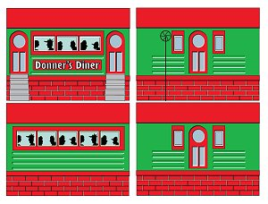 Howard Lamey's Tinplate Diner project can be dressed up for Christmas.  Click for bigger photo.