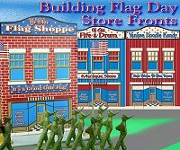 Click to see tinplate-inspired store fronts with patriotic themes
