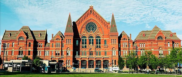 The Cincinnati Music Hall did not - to my knowledge - inspire any of the buildings used in the movie, but is another example of the grand brick architecture that the city's downtown structures emulated. Click for bigger photo.